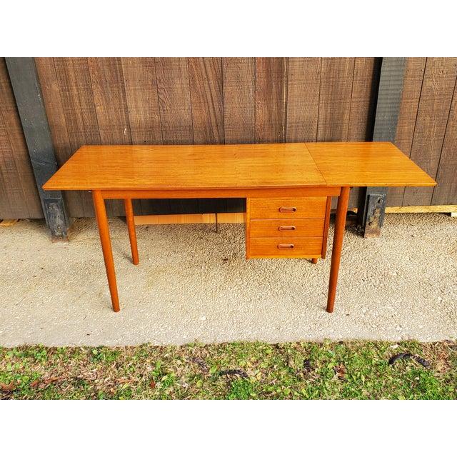 Brown 1950s Midcentury Danish Modern Arne Vodder Danish Teak Drop Leaf Desk For Sale - Image 8 of 13