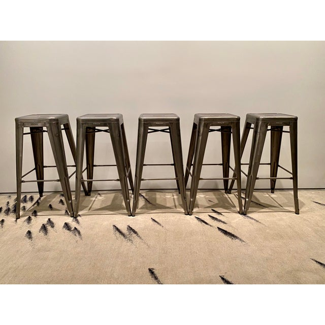 Tolix Marais Barstools - Set of 5 For Sale In San Francisco - Image 6 of 6