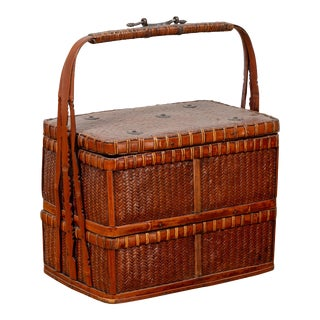 Chinese Vintage Small Tiered Rattan Picnic Basket with Large Handle For Sale