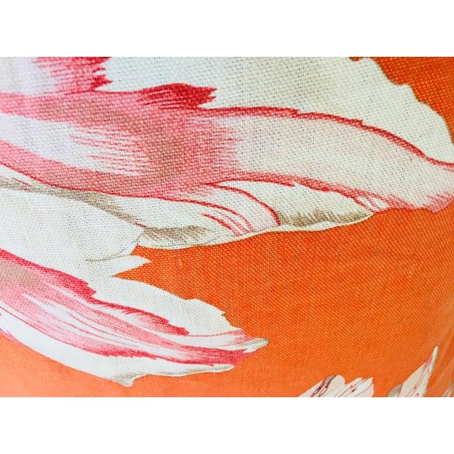 Mid Century Jim Thompson Orange Designer Decorative Pillow With Lotus Flower Print For Sale - Image 4 of 10