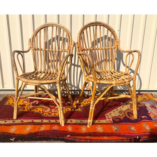 Tan Albini Style Bamboo Rattan Bistro Chairs- a Pair For Sale - Image 8 of 13