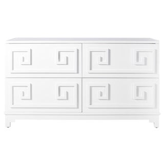 Worlds Away White Lacquer Greek Key 4-Drawer Dresser With Mirrored Top