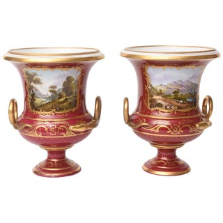 Pair of 19th Century Urn Vases Rich Ruby Color With Hand-Painted Scenes Pedestal For Sale