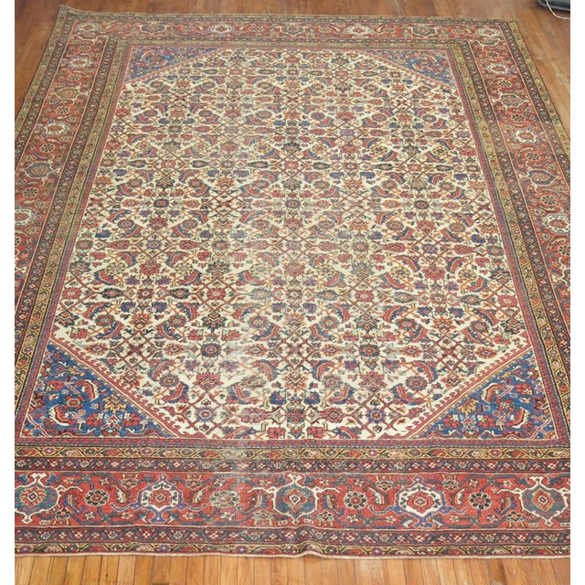 A 20th Century room size Mahal Sultanabad Rug with an all-over design on a ivory field. Professionally Cleaned and able to...