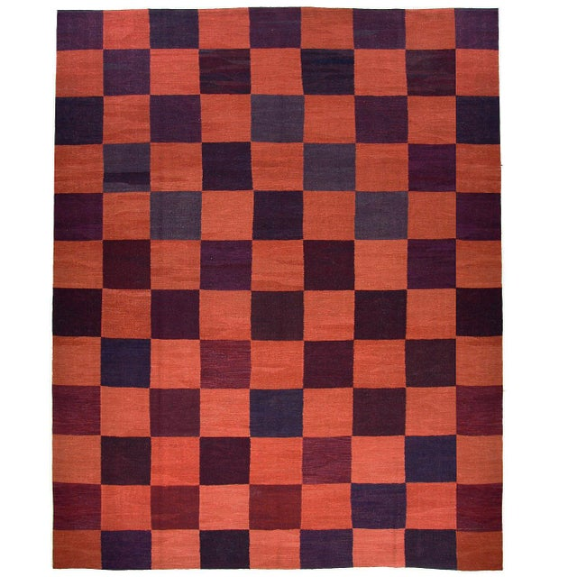 Rug & Relic, Inc. Rug & Relic Coral Check Turkish Kilim Flatweave   For Sale - Image 4 of 4