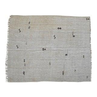 Vintage Rug Natural Turkish Sisal Hemp Kilim Rug No Dyes - 3′10″ × 6′3″ For Sale