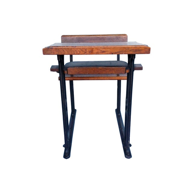 Industrial British Antique Oak & Iron Desk - Image 5 of 6