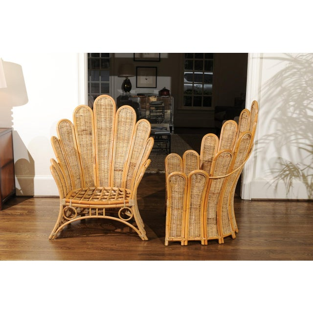 Majestic Restored Pair of Vintage Rattan and Wicker Palm Frond Club Chairs For Sale - Image 4 of 11