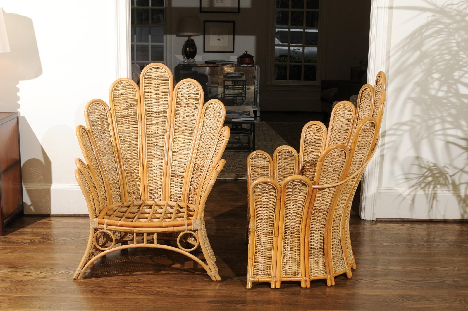 Majestic Restored Pair Of Vintage Rattan And Wicker Palm Frond Club Chairs    Image 4 Of