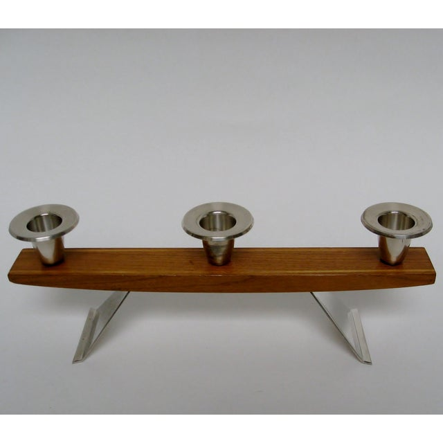 Handmade German candleholder in red oak with inlayed golden oak, silverplate flared legs, and three silverplate cups for...
