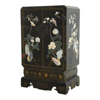 Chinese Black Lacquer Soapstone Scholar's Cabinet