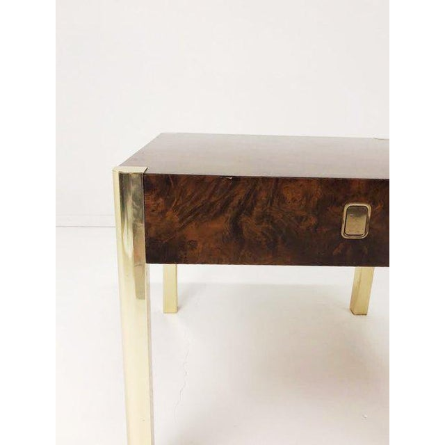 1970s 1970's Burl Wood and Brass Tables - a Pair For Sale - Image 5 of 10
