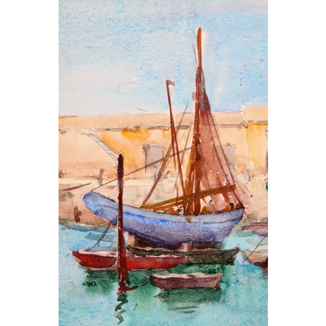 """""""Ships Docked, France"""" Watercolor Painting - Image 2 of 2"""