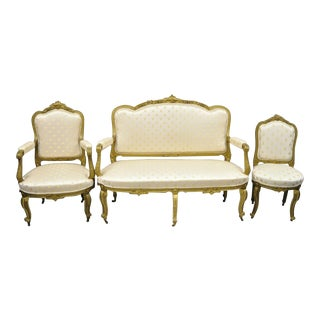 19th Century French Louis XV Style Gold Gilt Wood Parlor Salon Suite - 3 Pieces For Sale