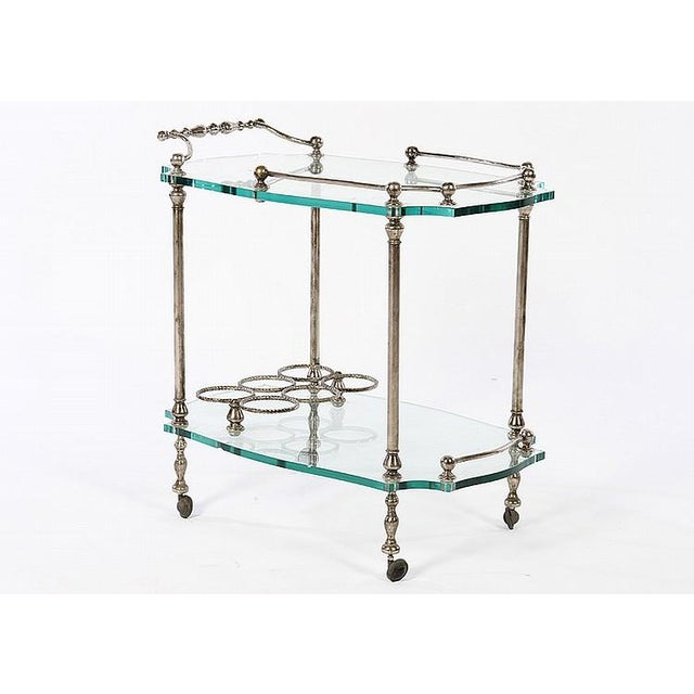 Exquisite French Art Deco Wrought Iron Bar Cart - Image 2 of 4