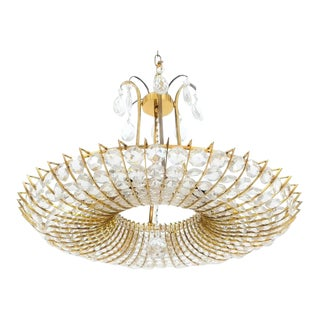 Beautiful and Large, Brass and Glass Chandelier in the style of Lobmeyr For Sale