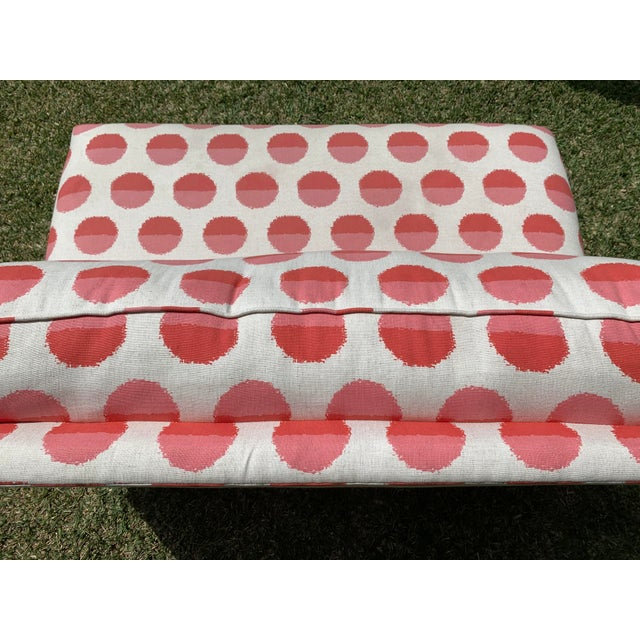 Pink Land of Nod Margot Flamingo Polka Dot Settee For Sale - Image 8 of 12