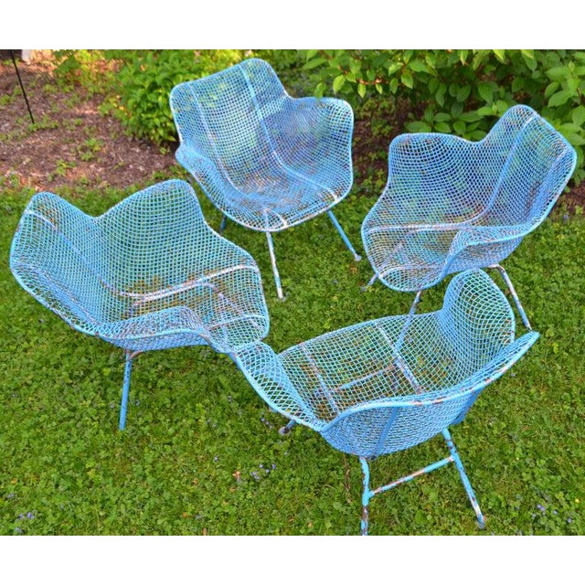 Russell Woodard Sculptura Wire Patio Chairs, Set of 4, in As-Found Sea Sky Blue For Sale - Image 12 of 13