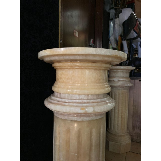 Mediterranean 1920s Tuscany Pink Marble Pedestals - a Pair For Sale - Image 3 of 13