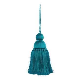 Pyar & Co. Trellis Home Tassel, Teal, Medium For Sale