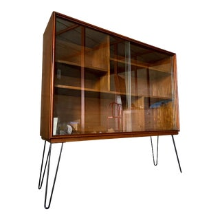 Mid Century Modern Hairpin Sliding Glass Cabinet For Sale