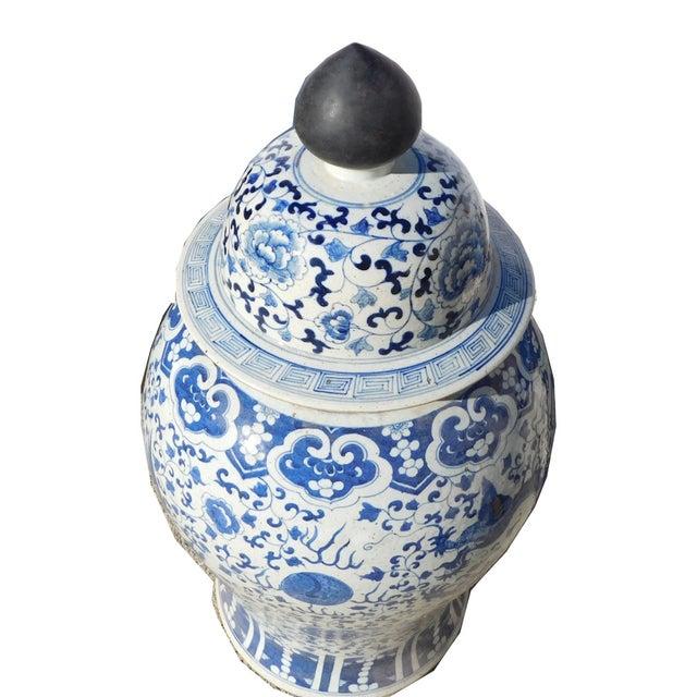 Chinese Blue & White Dragon Phoenix Temple Jar - Image 4 of 6