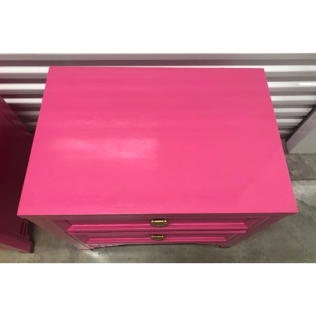 Bright Pink Vintage High Gloss Shangri La Nightstands - a Pair For Sale - Image 8 of 11