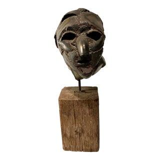 Vintage Metal Welded Bust Sculpture on Wood Base For Sale