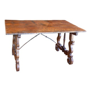 18th Century Iron and Walnut Catalan Writing and Dining Table Found in Spain For Sale