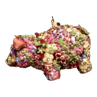 Jay Strongwater Glass Pig Enamled Swarovski Christmas Tree Ornament For Sale