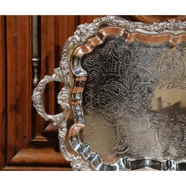 Early 20th Century French Silver Plated Tray With Ornate Scrolls and Engravings For Sale - Image 4 of 9