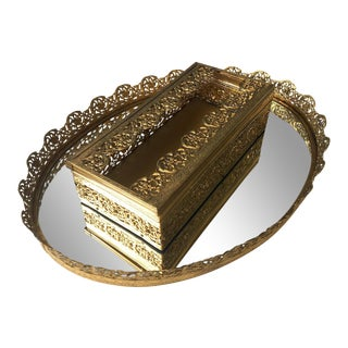 1970s Hollywood Regency Gold Filigree Tissue Box and Oval Vanity Mirror