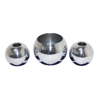 Art Deco 1930s Cobalt Blue & Chrome Candle Holder & Vase Set by Russel Wright for Chase Usa -Set of 3 For Sale