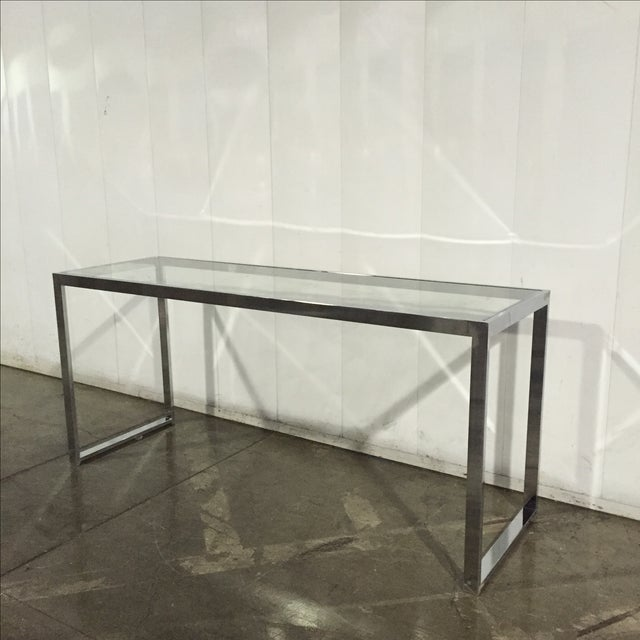 Milo Baughman Chrome Console Table - Image 4 of 7