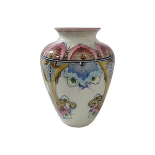 Faria & Bento Portuguese Hand-Painted Vase For Sale