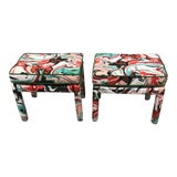 Image of Kate Spade Marble Swirl Linen Fabric Covered Benches - a Pair For Sale