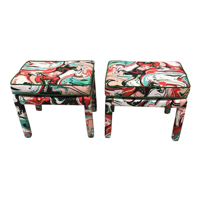 Kate Spade Marble Swirl Linen Fabric Covered Benches - a Pair For Sale