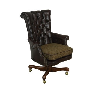 Kittinger Tufted Brown Leather Swivel Executive Desk Chair For Sale