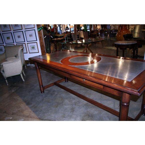 Italian Italian 50's Inlaid Zinc Oak Table For Sale - Image 3 of 9