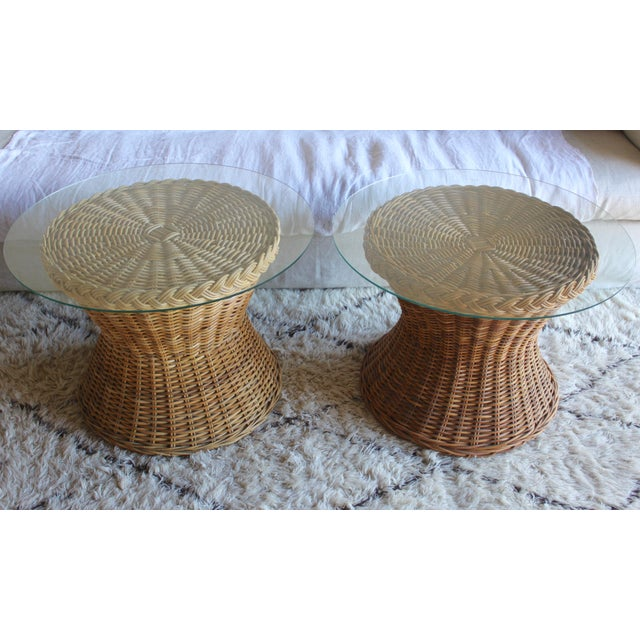 1970s Vintage Mid Century the Wicker Works Rattan Handwoven High End Tulip Side Tables Franco Albini Gabriella Crespi Style - a Pair For Sale - Image 5 of 12