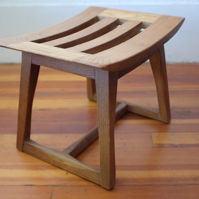 Mid-Century Modern Cerused Oak Stool, 1940s For Sale - Image 3 of 11