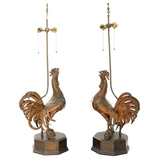 Pair of 19th C. Bronze Rooster Lamps