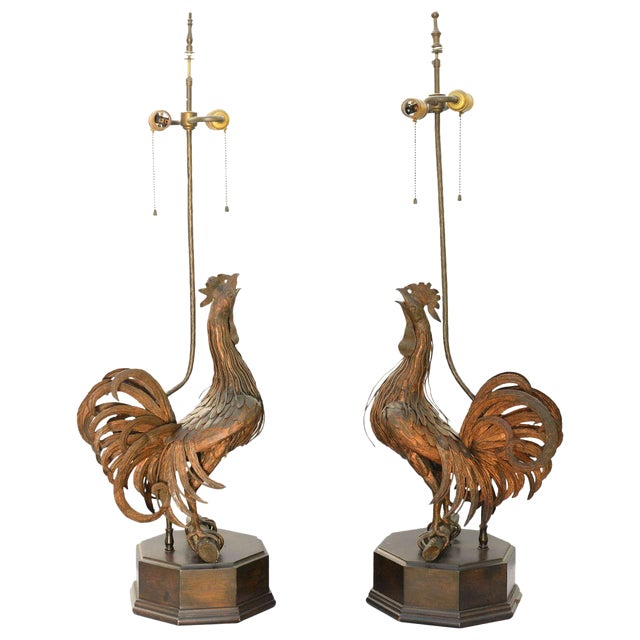 Pair of 19th C. Bronze Rooster Lamps For Sale