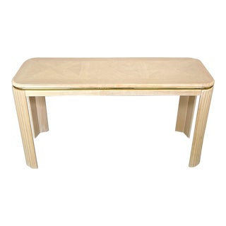1990s Art Deco Revival Style Blond Wood Console Table For Sale