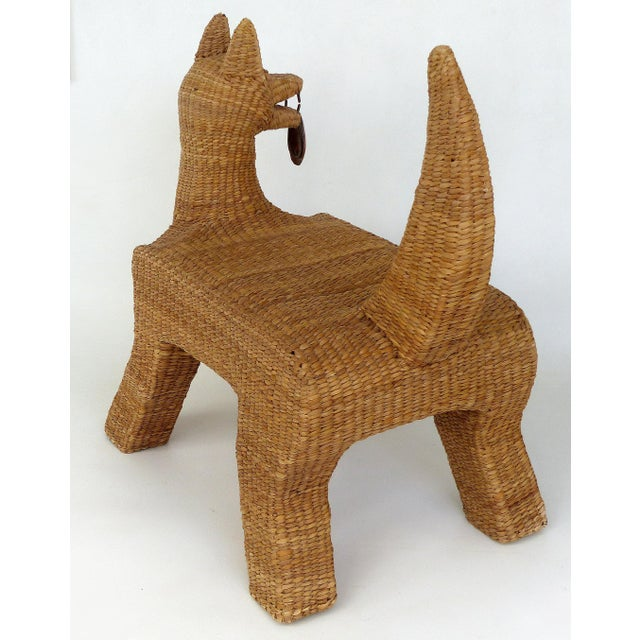 Tan 1970s Mexican Mario Lopez Torres Woven Reed & Copper Coyote Bench For Sale - Image 8 of 12
