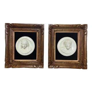 19th Century Glazed Chalkware Wall Mounting High Relief Bust Cameos - a Pair For Sale