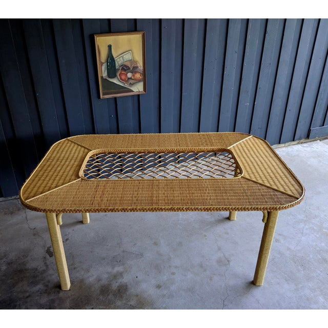 Tan Henry Link Rattan Wicker Chippendale Dining Table For Sale - Image 8 of 12