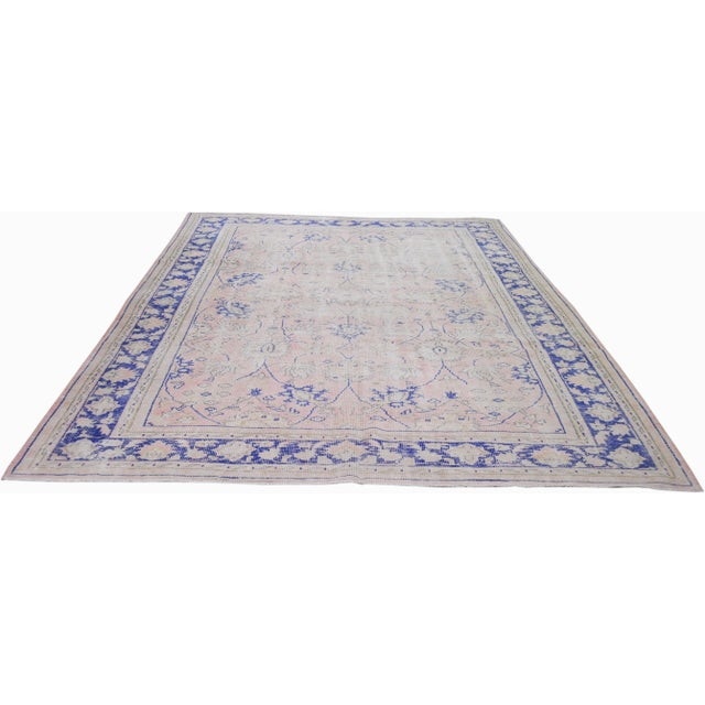 Vintage Turkish Anatolian whitewash hand knotted rug with natural colors and fine weave.