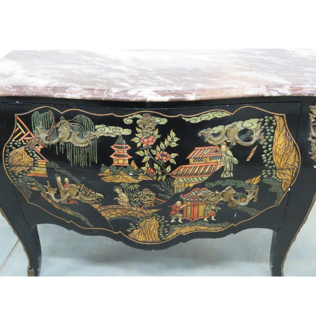 Chinoiserie marble-top two-drawer commode with bronze mounts.