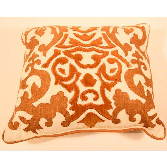Indian Decorative Silk Velvet Applique Throw Pillow For Sale - Image 3 of 11